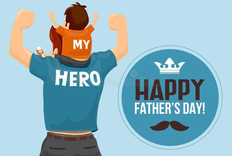 """Διάνυσμα ημέρας πατέρα - """"ο πατέρας μου ο ήρωας μου """" διανυσματική απεικόνιση"""
