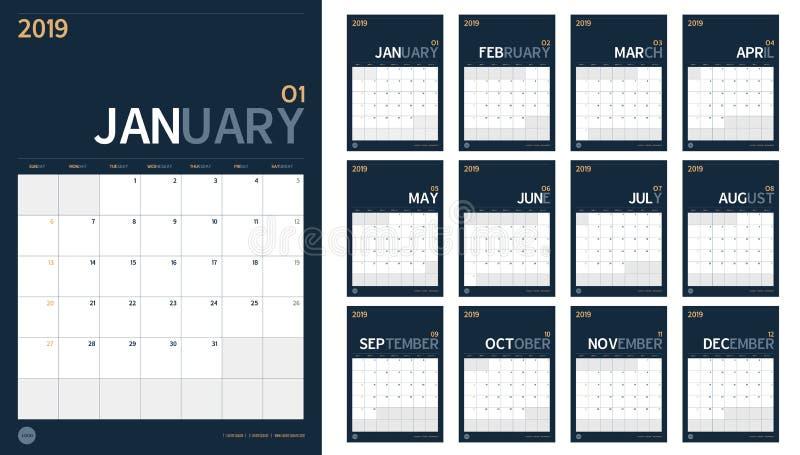 Διάνυσμα ημερολογίου έτους του 2019 του νέου που τίθεται στον καθαρό ελάχιστο πίνακα simp διανυσματική απεικόνιση