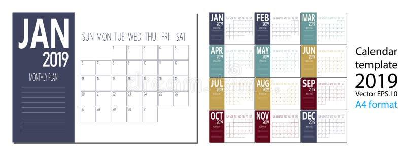 Διάνυσμα ημερολογίου έτους του 2019 του νέου στο καθαρό ελάχιστο επιτραπέζιο απλό ύφος και το μπλε μέγεθος χρώματος A4 διανυσματική απεικόνιση