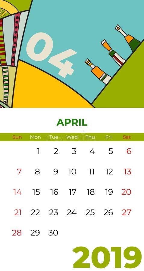 διάνυσμα ημερολογιακής αφηρημένο σύγχρονης τέχνης Απριλίου του 2019 Γραφείο, οθόνη, μήνας 04,2019, ζωηρόχρωμο ημερολογιακό πρότυπ διανυσματική απεικόνιση