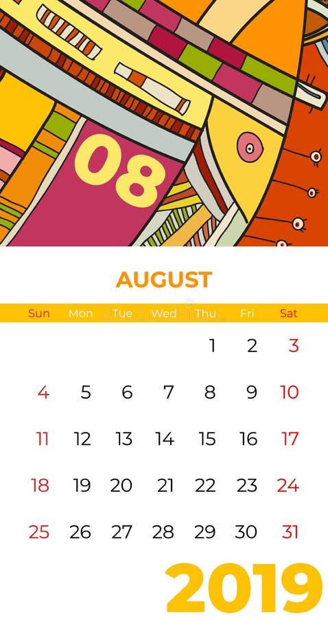 2019 διάνυσμα ημερολογιακής αφηρημένο σύγχρονης τέχνης Αυγούστου Γραφείο, οθόνη, μήνας 08, 2019, ζωηρόχρωμο ημερολογιακό πρότυπο  απεικόνιση αποθεμάτων