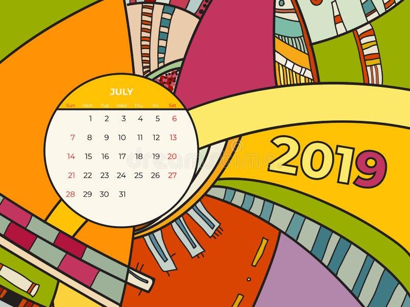 2019 διάνυσμα ημερολογιακής αφηρημένο σύγχρονης τέχνης Ιουλίου Γραφείο, οθόνη, μήνας 07,2019, ζωηρόχρωμο ημερολογιακό πρότυπο του ελεύθερη απεικόνιση δικαιώματος
