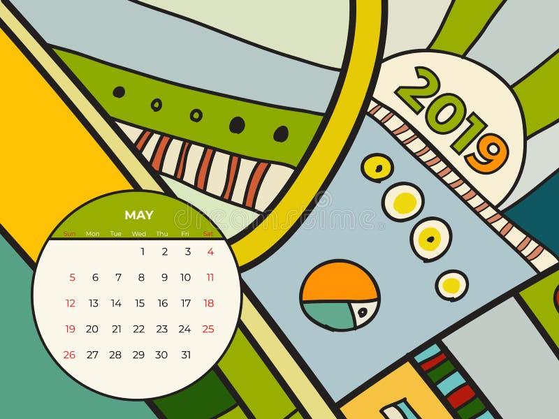 2019 διάνυσμα ημερολογιακής αφηρημένο σύγχρονης τέχνης Μαΐου Γραφείο, οθόνη, μήνας 05,2019, ζωηρόχρωμο ημερολογιακό πρότυπο του 2 ελεύθερη απεικόνιση δικαιώματος
