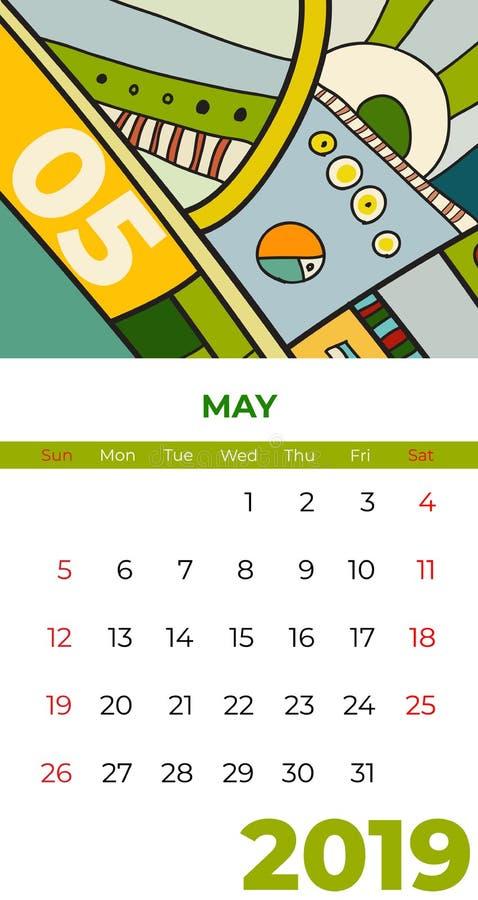 2019 διάνυσμα ημερολογιακής αφηρημένο σύγχρονης τέχνης Μαΐου Γραφείο, οθόνη, μήνας 05,2019, ζωηρόχρωμο ημερολογιακό πρότυπο του 2 απεικόνιση αποθεμάτων