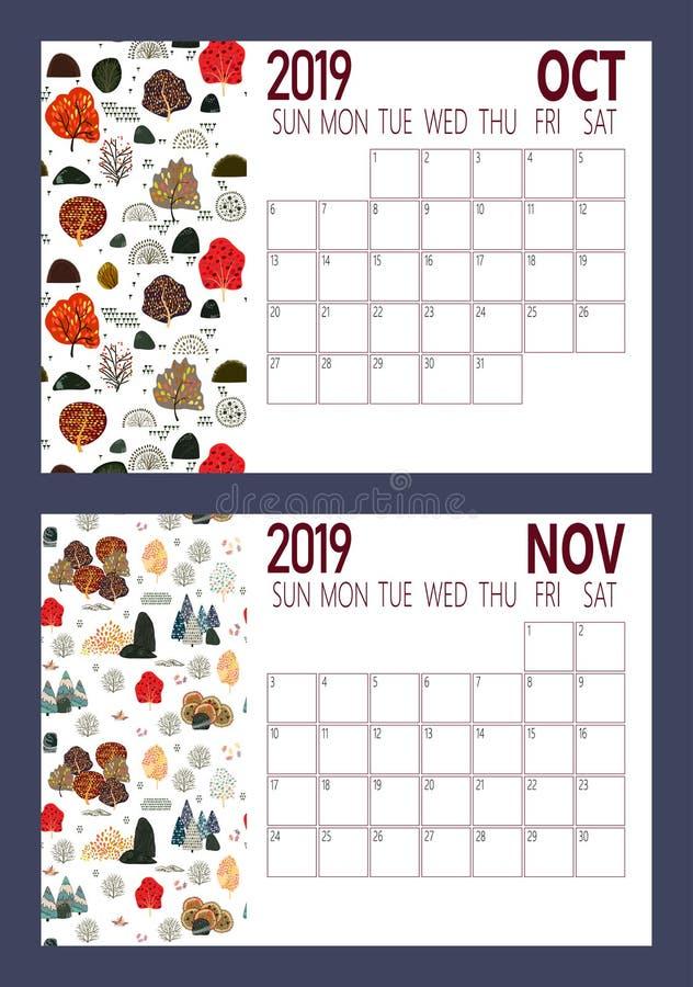 Διάνυσμα ημερολογιακού φύλλου έτους του 2019 του νέου με το δασικό A4 μέγεθος διανυσματική απεικόνιση