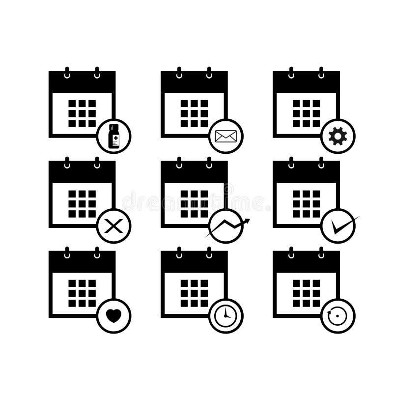 Διάνυσμα ημερολογιακών εικονιδίων που τίθεται για το πρότυπο σχεδίου Ιστού ελεύθερη απεικόνιση δικαιώματος