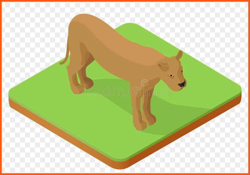 Διάνυσμα λιονταρινών isometric ελεύθερη απεικόνιση δικαιώματος