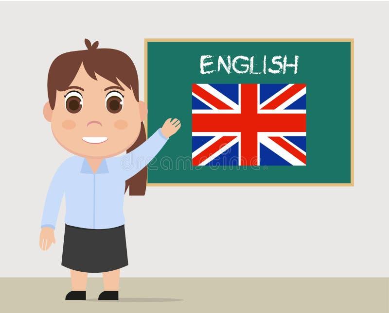 Διάνυσμα καθηγητών Αγγλικών, διδασκαλία γυναικών διανυσματική απεικόνιση