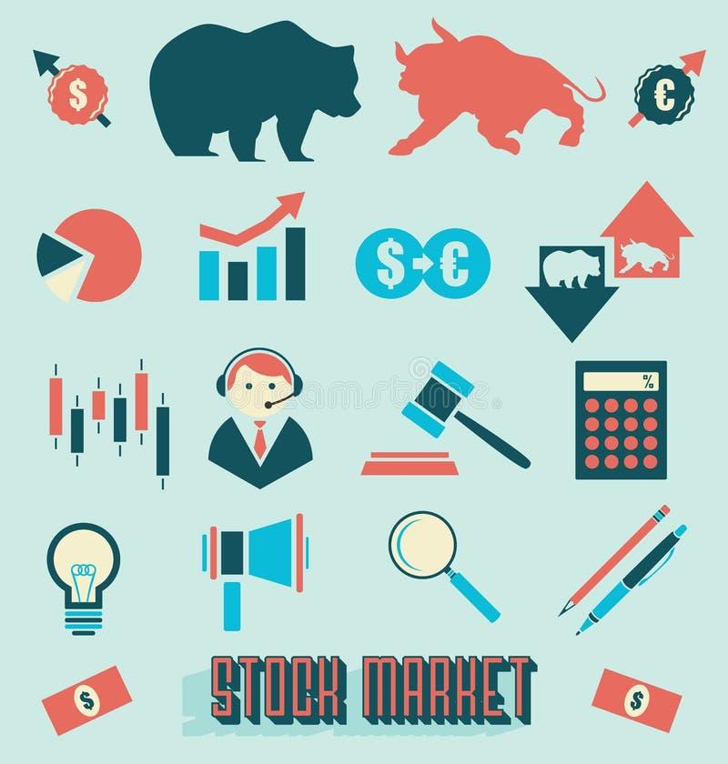Διάνυσμα καθορισμένο: Εικονίδια και σύμβολα χρηματιστηρίου απεικόνιση αποθεμάτων