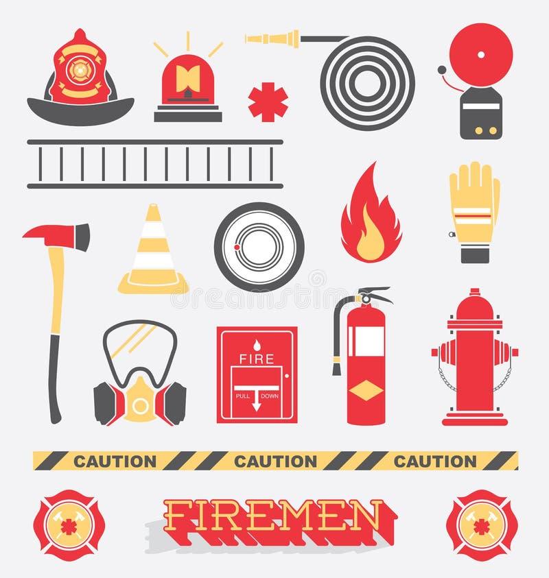 Διάνυσμα καθορισμένο: Επίπεδα εικονίδια και σύμβολα πυροσβεστών απεικόνιση αποθεμάτων