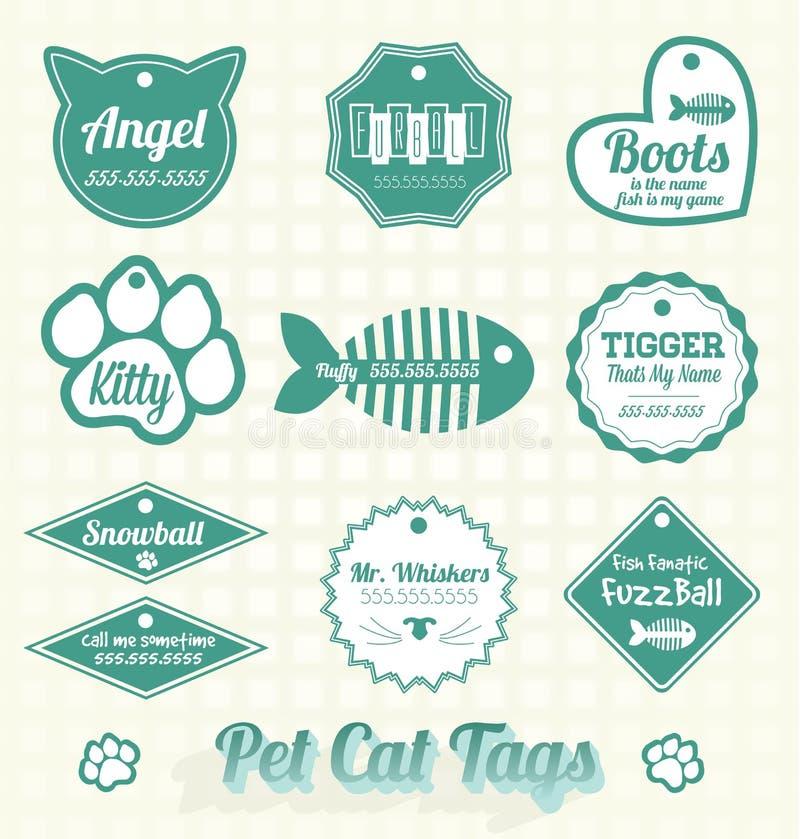 Διάνυσμα καθορισμένο: Ετικέττες ονόματος γατών της Pet απεικόνιση αποθεμάτων