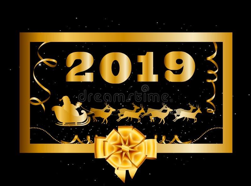 Διάνυσμα 2019 καλή χρονιά και υπόβαθρο Χριστουγέννων με το χρυσούς τόξο και Άγιο Βασίλη δώρων απεικόνιση αποθεμάτων