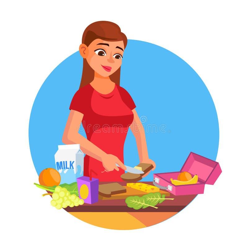 Διάνυσμα καλαθακιών με φαγητό Γυναίκα που κάνει το νόστιμο χορτοφάγο μεσημεριανό γεύμα τρόφιμα υγιή Μητέρα που κάνει το πρόγευμα  διανυσματική απεικόνιση