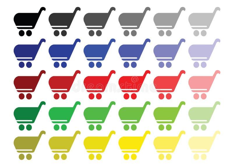 Διάνυσμα καλαθιών αγορών που τίθεται στα πολλαπλάσια χρώματα - εικονίδιο κάρρων αγορών απεικόνιση αποθεμάτων