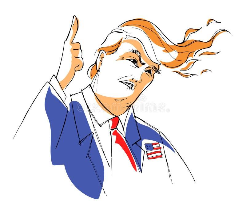 Διάνυσμα καρικατουρών του Ντόναλντ Τραμπ διανυσματική απεικόνιση
