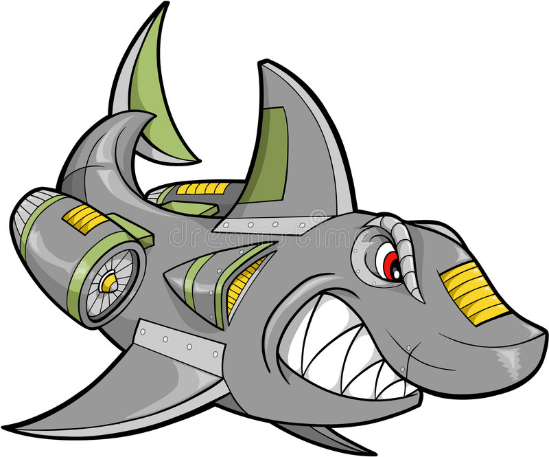 διάνυσμα καρχαριών ρομπότ ελεύθερη απεικόνιση δικαιώματος