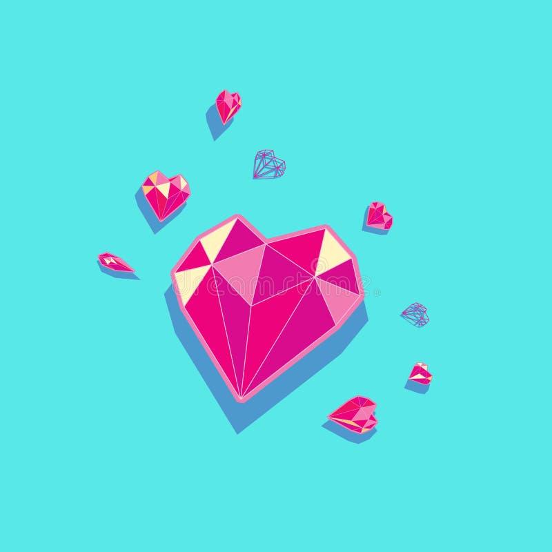 Διάνυσμα καρδιών διαμαντιών στοκ φωτογραφίες με δικαίωμα ελεύθερης χρήσης