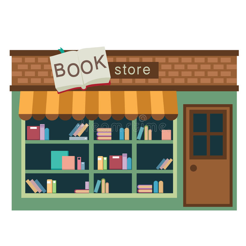 Διάνυσμα καταστημάτων βιβλίων διανυσματική απεικόνιση