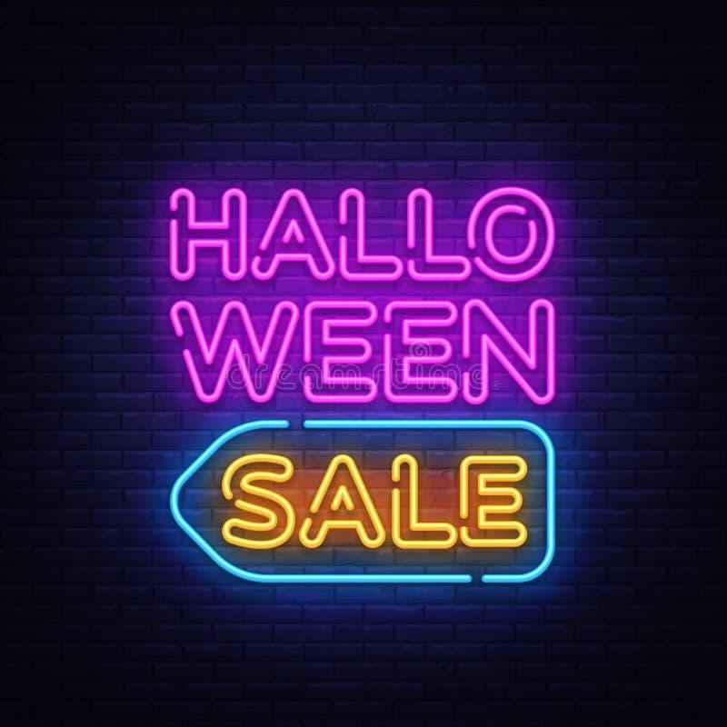 Διάνυσμα κειμένων πώλησης αποκριών Σημάδι νέου πώλησης αποκριών, πρότυπο σχεδίου, σύγχρονο σχέδιο τάσης, πινακίδα νέου νύχτας, νύ ελεύθερη απεικόνιση δικαιώματος
