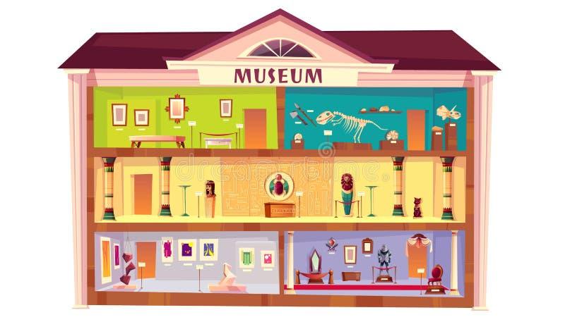 Διάνυσμα κινούμενων σχεδίων οικοδόμησης μουσείων φυσικής ιστορίας ελεύθερη απεικόνιση δικαιώματος