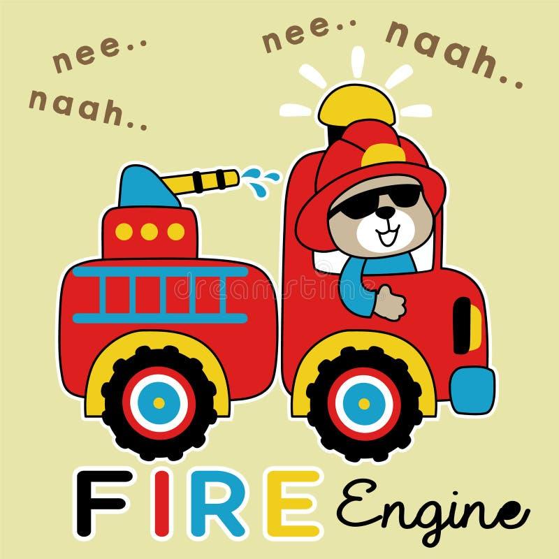Διάνυσμα κινούμενων σχεδίων πυροσβεστικών οχημάτων με τον αστείο οδηγό διανυσματική απεικόνιση