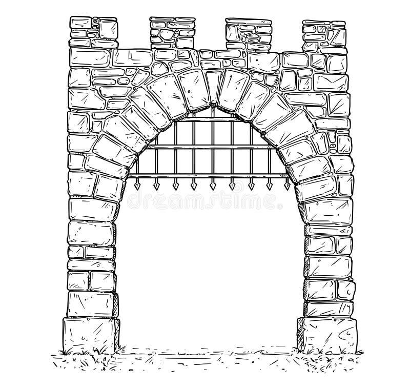 Διάνυσμα κινούμενων σχεδίων της ανοικτής πέτρινης μεσαιωνικής πύλης απόφασης με τα σιδερόβεργα ελεύθερη απεικόνιση δικαιώματος