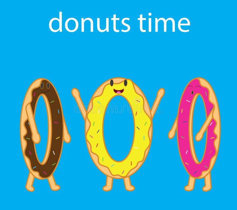 Διάνυσμα κινούμενων σχεδίων τριών αστείων donuts ελεύθερη απεικόνιση δικαιώματος