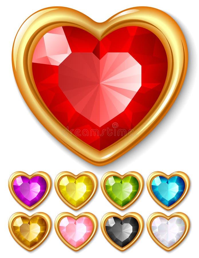 διάνυσμα κοσμημάτων καρδιών διανυσματική απεικόνιση