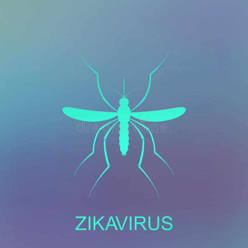 Διάνυσμα κουνουπιών Zika Επιφυλακή ιών Aedes Aegypti στο μπλε υπόβαθρο απεικόνιση αποθεμάτων