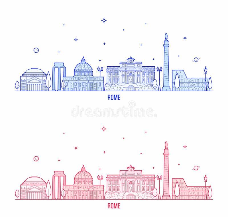 Διάνυσμα κτηρίων πόλεων της Ιταλίας οριζόντων της Ρώμης απεικόνιση αποθεμάτων