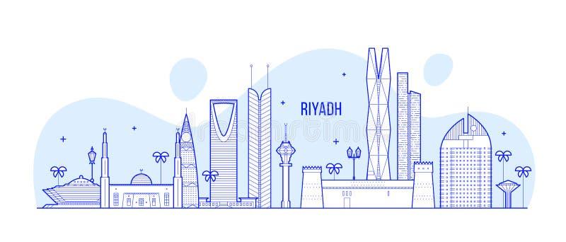 Διάνυσμα κτηρίων πόλεων της Σαουδικής Αραβίας οριζόντων του Ριάντ ελεύθερη απεικόνιση δικαιώματος