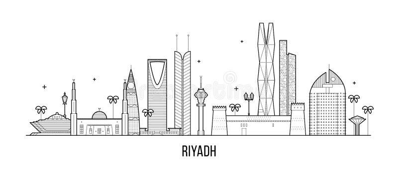 Διάνυσμα κτηρίων πόλεων της Σαουδικής Αραβίας οριζόντων του Ριάντ διανυσματική απεικόνιση