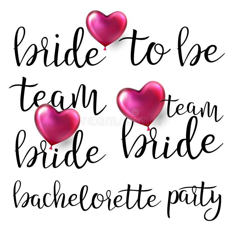 Διάνυσμα κόμματος Bachelorette Πρόσκληση Bachelorette κειμένων Έμβλημα γαμήλιων γυναικών Κορίτσι κοτών απεικόνιση ελεύθερη απεικόνιση δικαιώματος