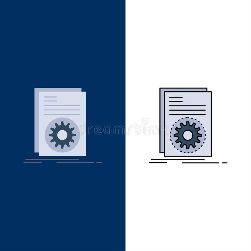 Διάνυσμα κώδικα, εκτελέσιμο, αρχείο, εκτέλεση, script Flat Color Icon απεικόνιση αποθεμάτων