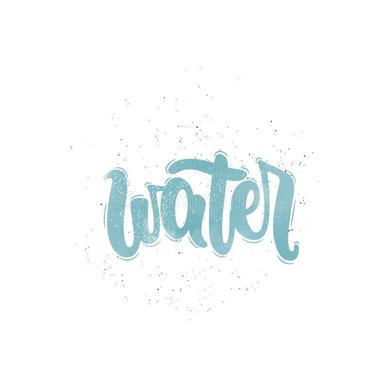 Διάνυσμα λέξης νερού διανυσματική απεικόνιση