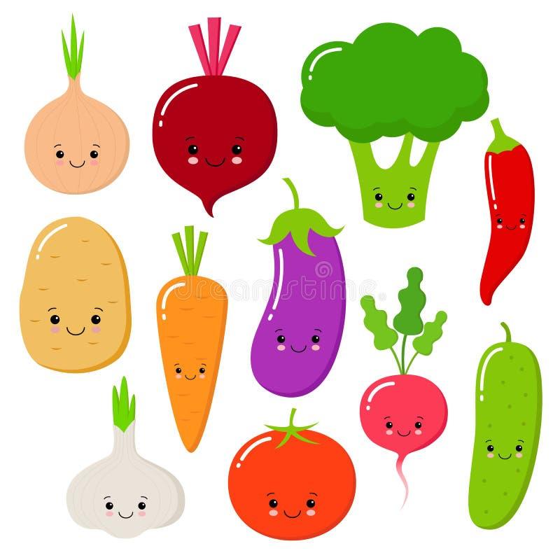 Διάνυσμα λαχανικών κινούμενων σχεδίων που τίθεται στο επίπεδο ύφος Κρεμμύδι, καρότο, αγγούρι, πάπρικα, ντομάτα, πιπέρι, μπρόκολο, διανυσματική απεικόνιση