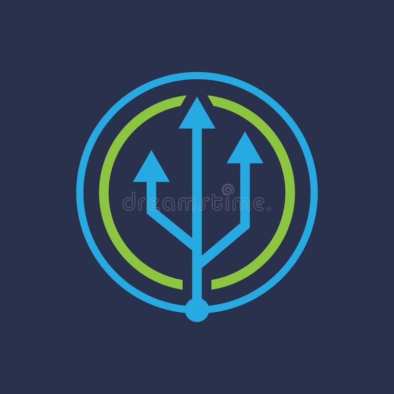 Διάνυσμα λογότυπων βελών κύκλων σύνδεσης USB διανυσματική απεικόνιση