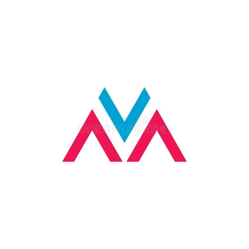 Διάνυσμα λογότυπων γραμμάτων MV διανυσματική απεικόνιση