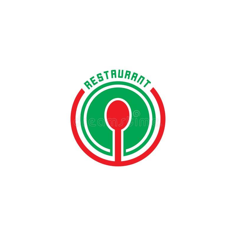 Διάνυσμα λογότυπων εστιατορίων κουταλιών κύκλων απεικόνιση αποθεμάτων