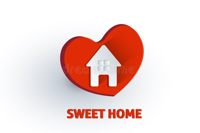 Διάνυσμα λογότυπων καρδιών αγάπης σπιτιών διανυσματική απεικόνιση