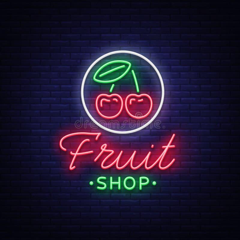 Διάνυσμα λογότυπων καταστημάτων φρούτων Σημάδι νέου, φωτεινή νυχτερινή ζωή που διαφημίζει για τις πωλήσεις φρούτων για τα προγράμ απεικόνιση αποθεμάτων