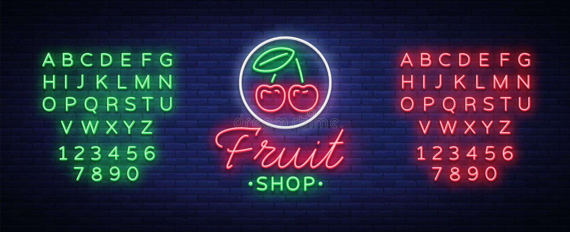 Διάνυσμα λογότυπων καταστημάτων φρούτων Σημάδι νέου, φωτεινή νυχτερινή ζωή που διαφημίζει για τις πωλήσεις φρούτων για τα προγράμ διανυσματική απεικόνιση