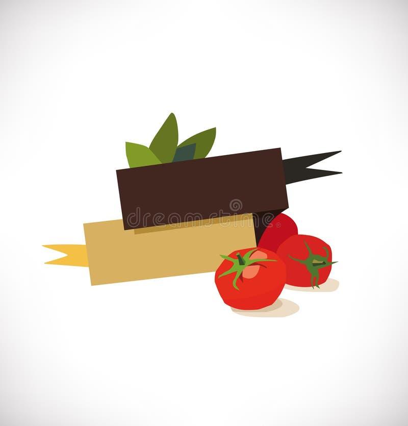 Διάνυσμα λογότυπων με τις ντομάτες και το βασιλικό Ιταλική κουζίνα, εστιατόριο, πίτσα πλαίσιο, logotype έννοια απεικόνιση αποθεμάτων