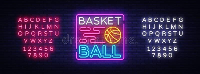 Διάνυσμα λογότυπων νέου νύχτας καλαθοσφαίρισης Σημάδι νέου καλαθοσφαίρισης, πρότυπο σχεδίου, σύγχρονο σχέδιο τάσης, πινακίδα αθλη διανυσματική απεικόνιση