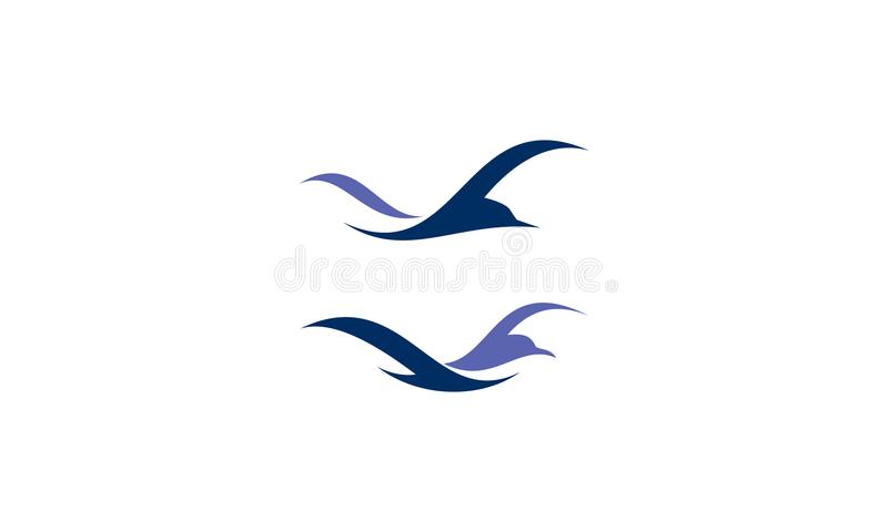 Διάνυσμα λογότυπων παραλιών πουλιών απεικόνιση αποθεμάτων