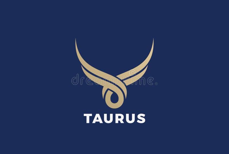 Διάνυσμα λογότυπων σκιαγραφιών του Bull Taurus Bu Steakhouse διανυσματική απεικόνιση