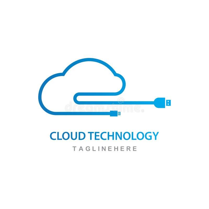 διάνυσμα λογότυπων τεχνολογίας σύννεφων απεικόνιση αποθεμάτων
