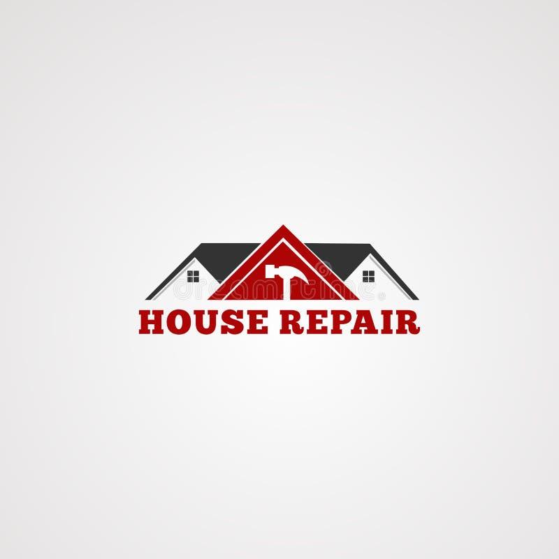 Διάνυσμα λογότυπων υπηρεσιών επισκευής σπιτιών, σφυρί εργαλείων, στέγη πνεύματος εγχώριας κατασκευής στο κόκκινο χρώμα, πρότυπο,  ελεύθερη απεικόνιση δικαιώματος