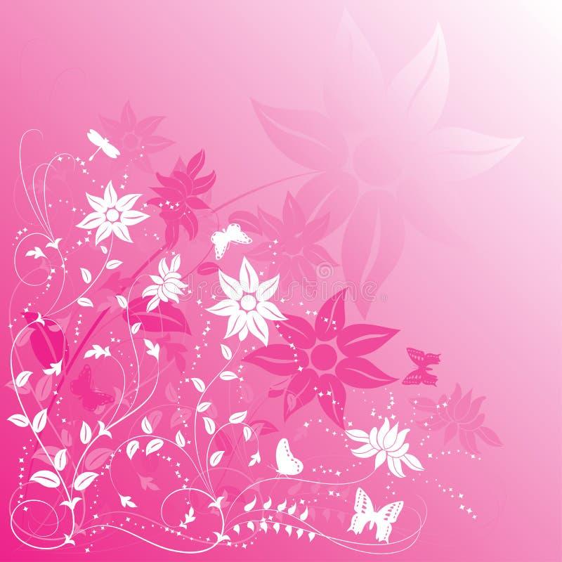 διάνυσμα λουλουδιών πεταλούδων ανασκόπησης απεικόνιση αποθεμάτων