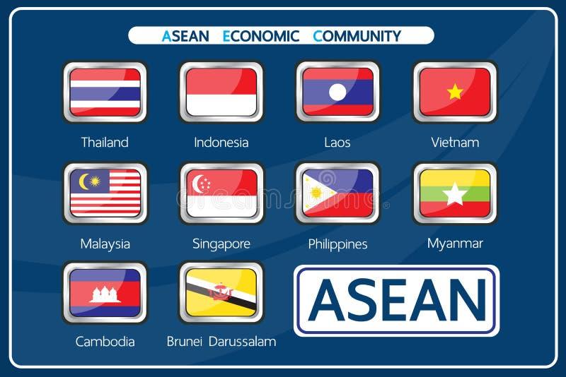 Διάνυσμα: Μέλος της οικονομικής κοινότητας της ASEAN διανυσματική απεικόνιση